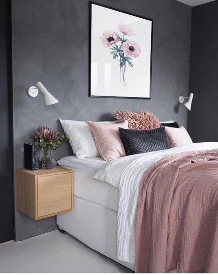 decoração moderna com cimento queimado e cama box solteiro Foto Etsy
