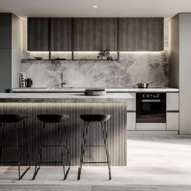 decoração moderna para cozinha cinza com bancada Foto Pleasant Home