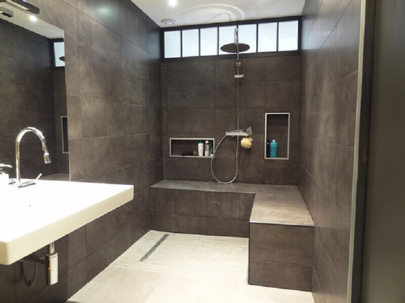decoração para banheiro cinza com cimento queimado Foto House Design