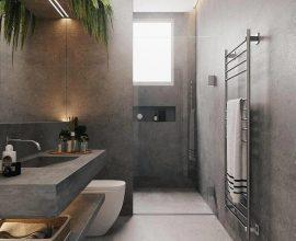 decoração para banheiro cinza moderno com plantas  Foto HDR
