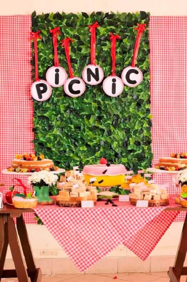decoração para mesa de aniversário piquenique Foto Mamãe Festeira