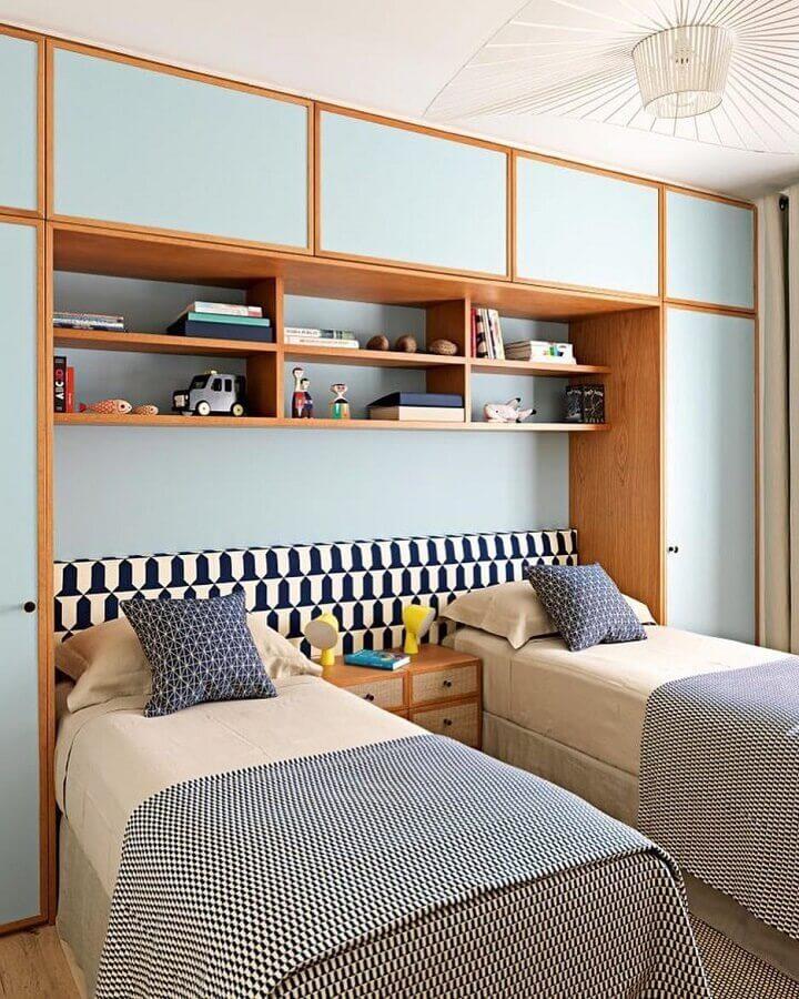 decoração para quarto de solteiro com cama box solteiro Foto Pinosy