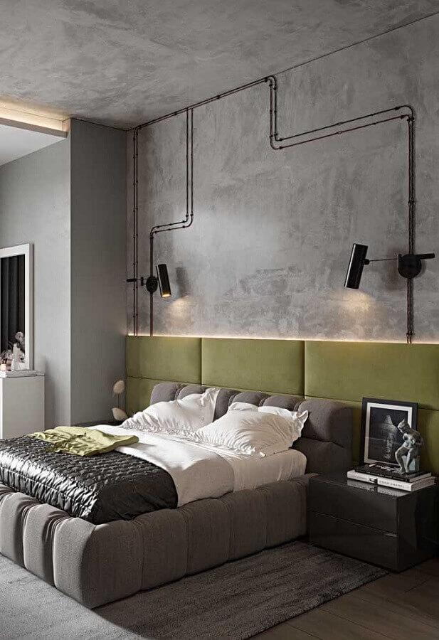 decoração para quarto moderno com cimento queimado e cabeceira verde musgo  Foto Pinterest