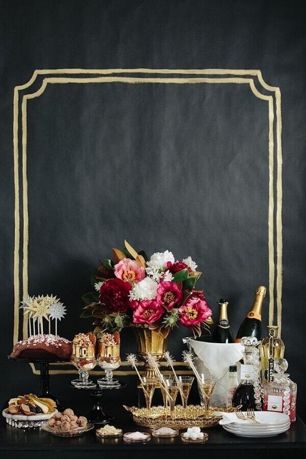 decoração preta e dourada para festa de réveillon sofisticada Foto HomeDecor