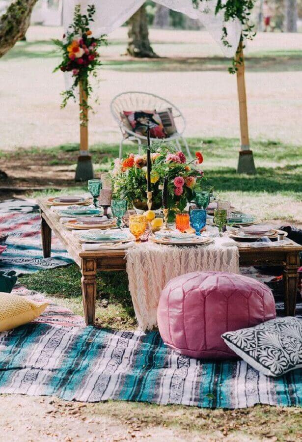 decoração rústica para festa picnic Foto Pinosy
