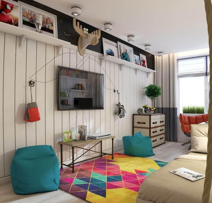 decoração simples com tapete colorido para sala Foto Pinterest