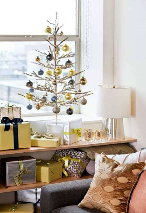 decoração simples para árvore de natal pequena Foto Pinterest