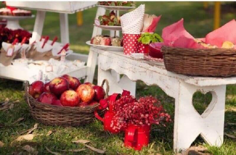 decoração vermelha para festa picnic Foto Casa e Festa