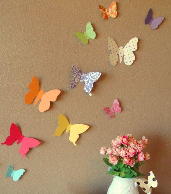 Decoração de casa com borboletas de papel
