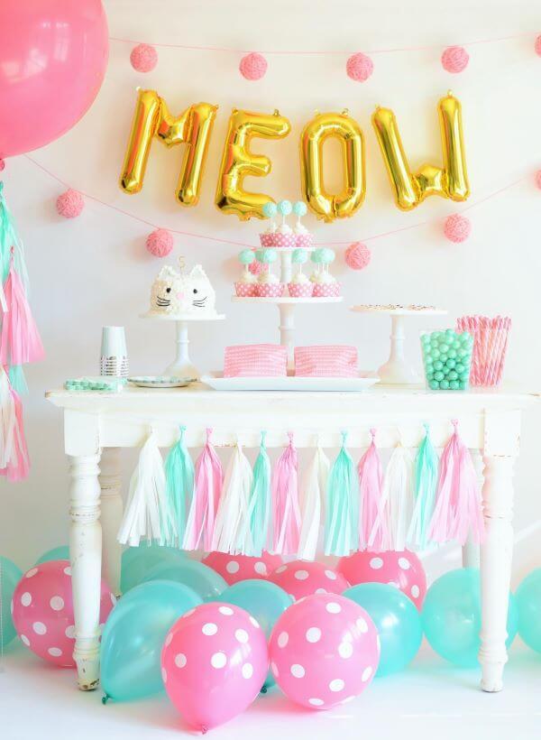 Decoração de festa simples tema gatinho