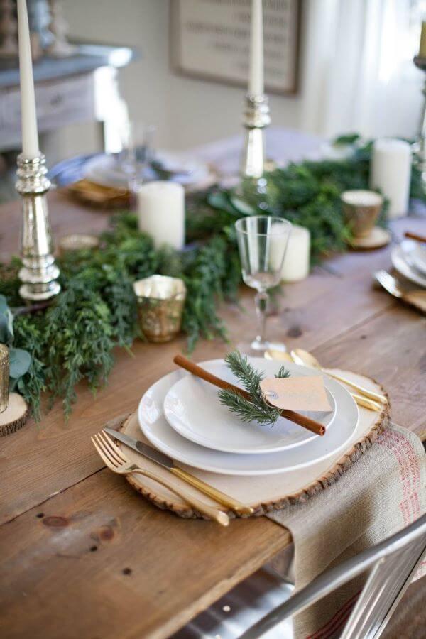 Decoração de mesa de natal simples