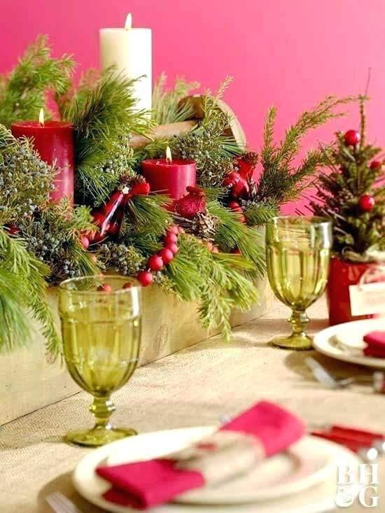 Mesa de natal vermelho e verde