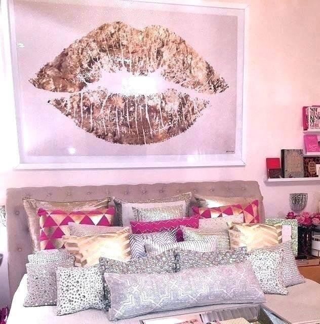 Decoração de quarto rosa e prata, super fashion