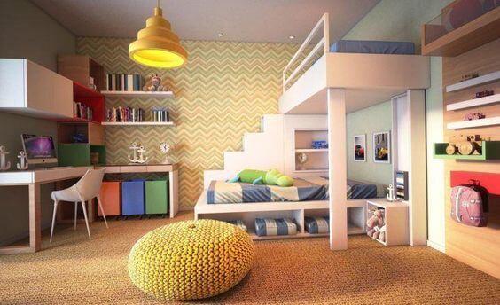 Decoração de quarto de menino com puff de crochê
