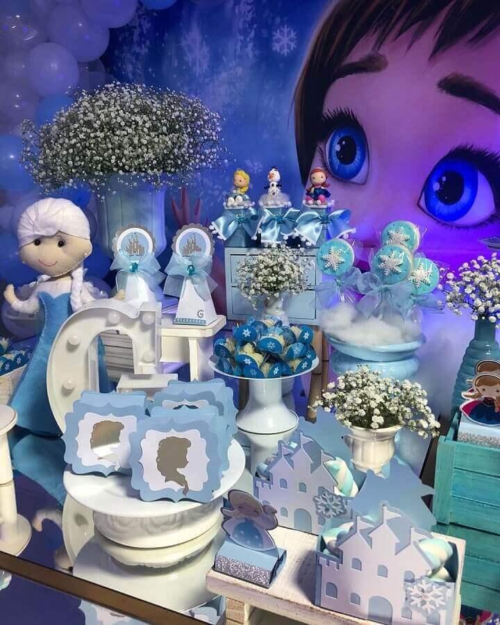 detalhes de decoração de festa da frozen Foto Petit Papeterie