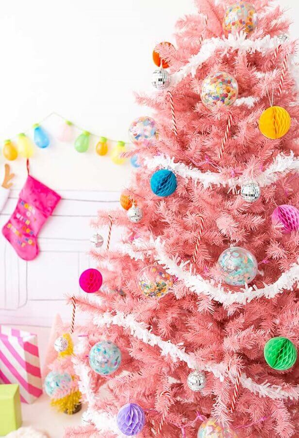 enfeites coloridos para árvore de natal rosa Foto Pinterest