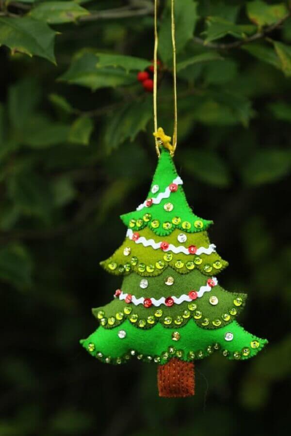 enfeites para árvore de natal artesanal em formato de pinheiro Foto Pinterest