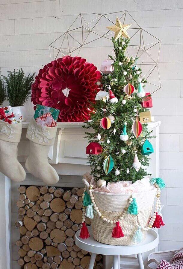 enfeites simples para árvore de natal pequena Foto Pinterest