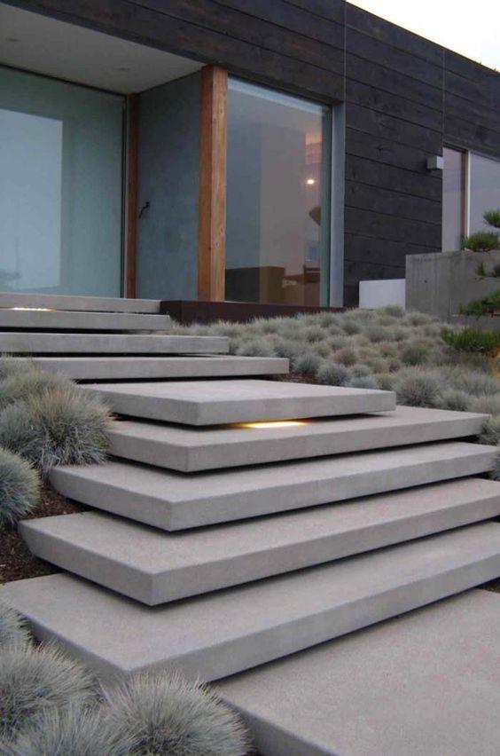 escada externa - escada de concreto branco