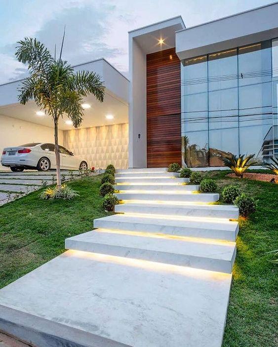 escada externa - escada de mármore com luzes