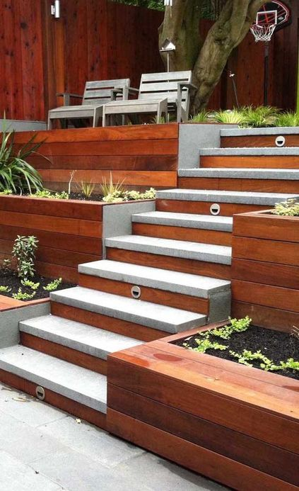 escada externa - escada de madeira e concreto