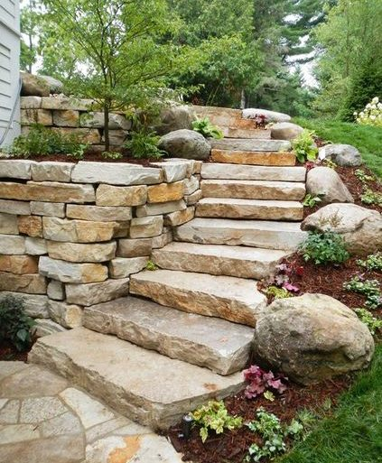 escada externa - escada de pedra rústica - Pinterest