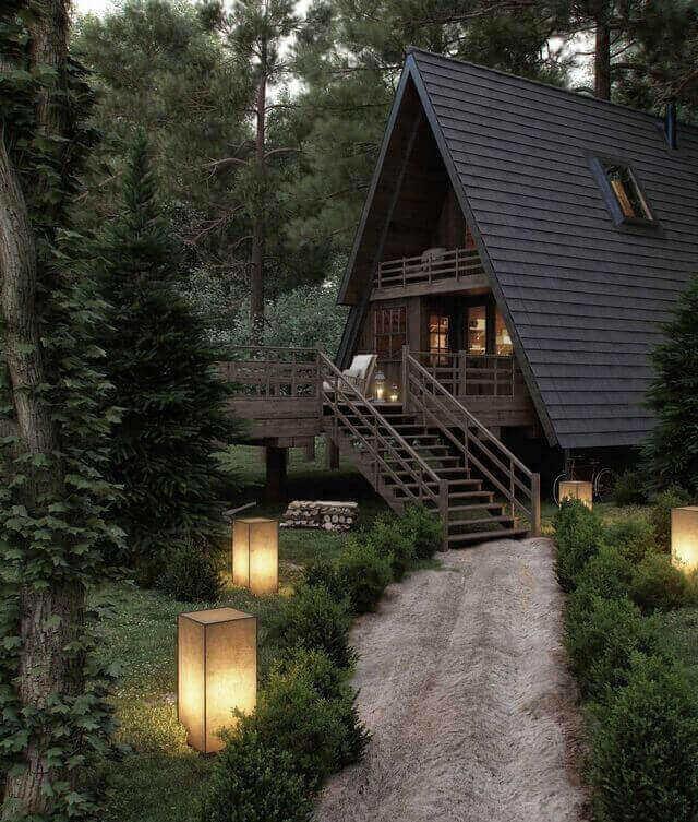 escada externa - luminárias de piso e escada de madeira escura
