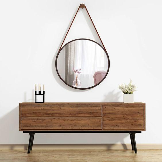 espelho adnet - aparador de madeira crua e espelho