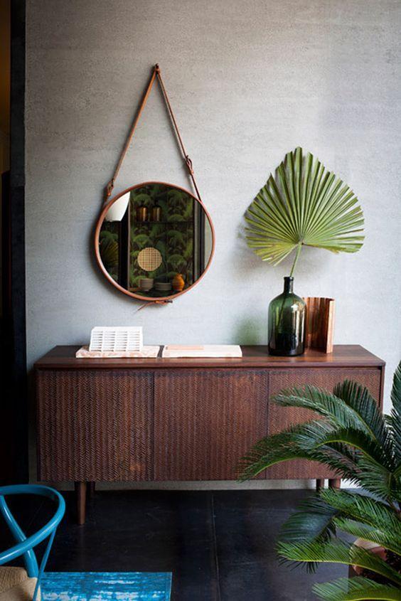 espelho adnet - aparador de sala de estar com planta