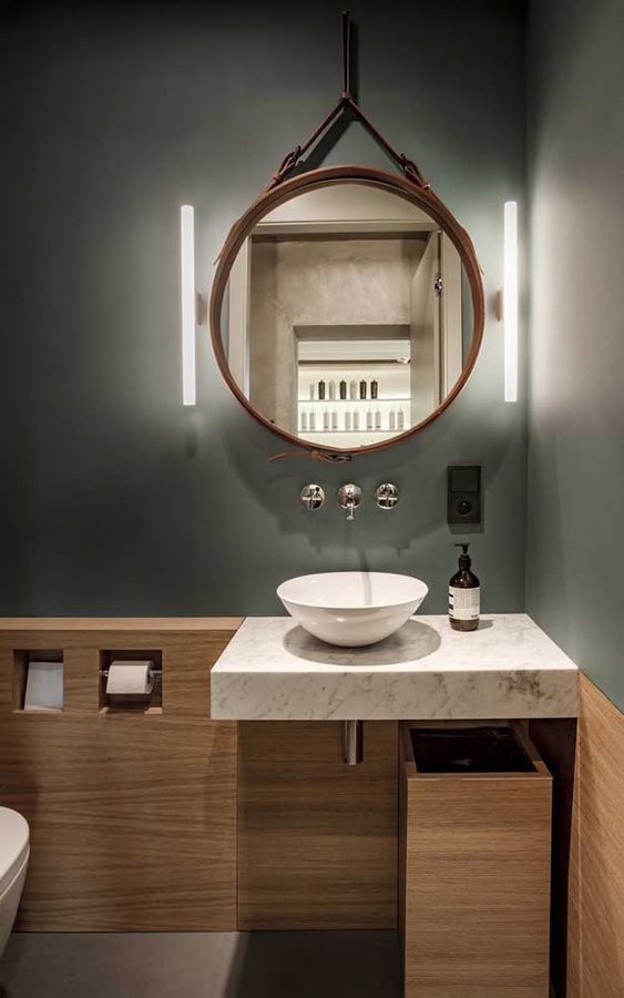 espelho adnet - banheiro com bancada de mármore