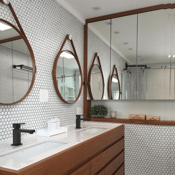 espelho adnet - banheiro com ladrilho simples