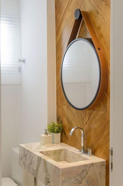 espelho adnet - banheiro com pia de mármore