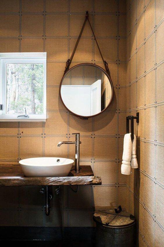 espelho adnet - banheiro rústico com espelho redondo