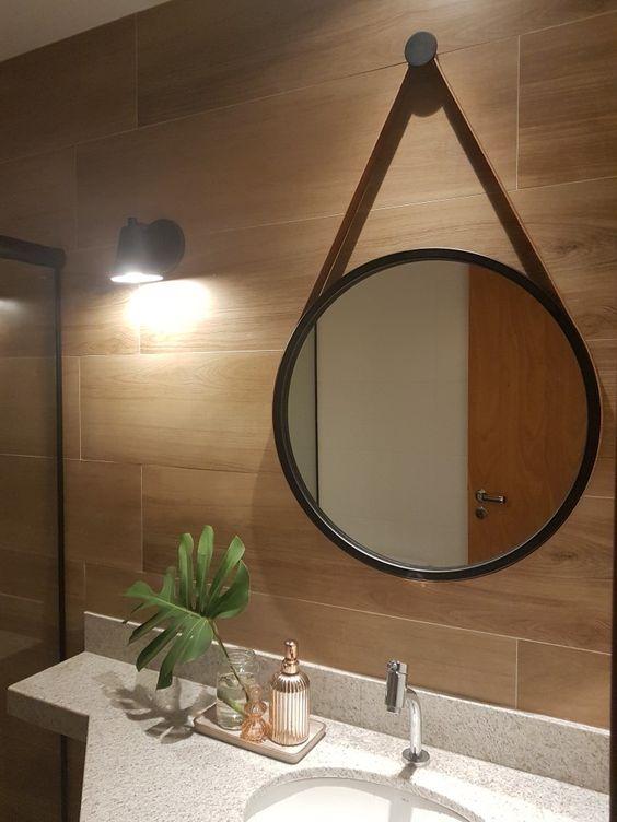 espelho adnet - banheiro simples com parede revestida