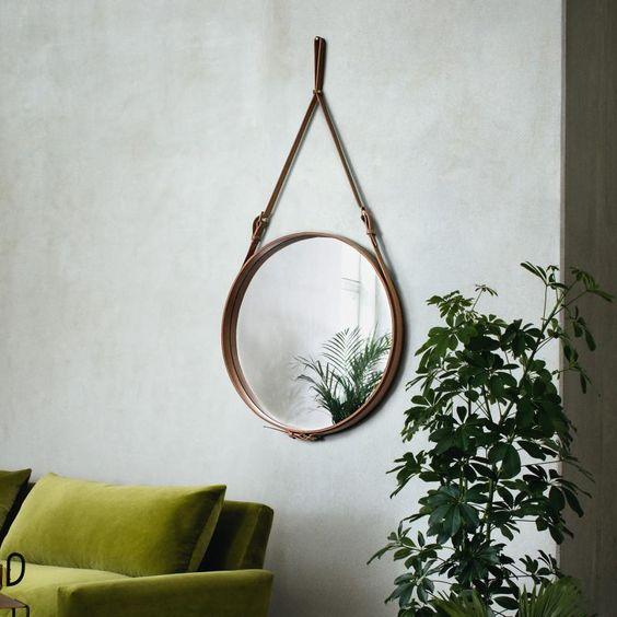 espelho adnet - espelho adnet em sala com sofá verde