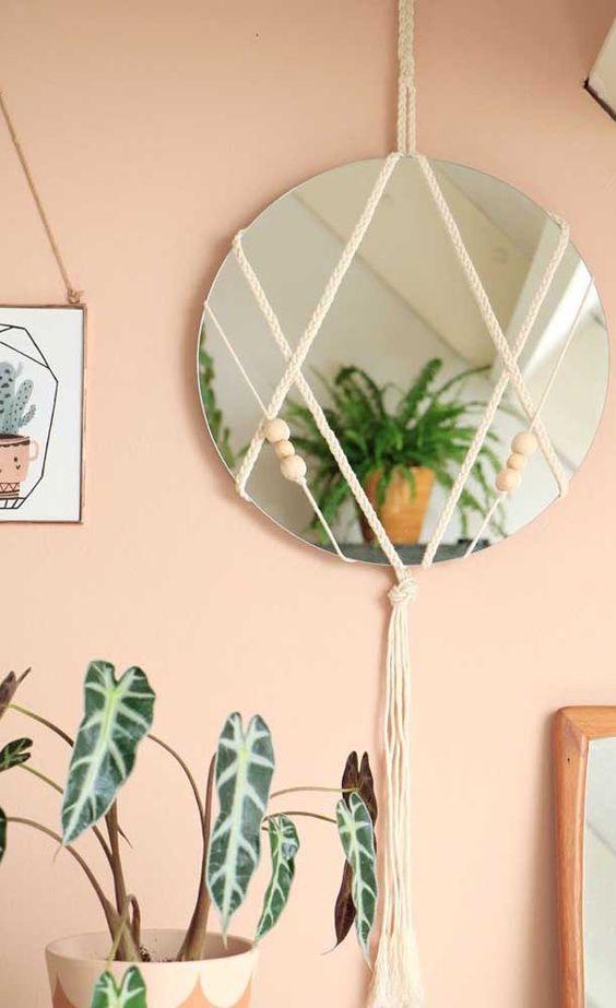 espelho adnet - espelho com macramê