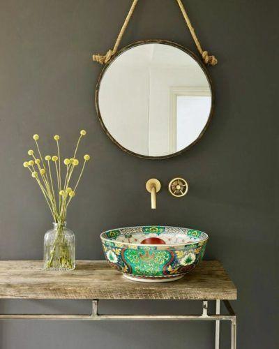 espelho adnet - lavabo clássico com cuba colorida