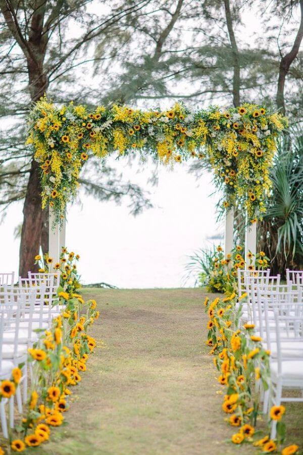 flores para casamento com girassol