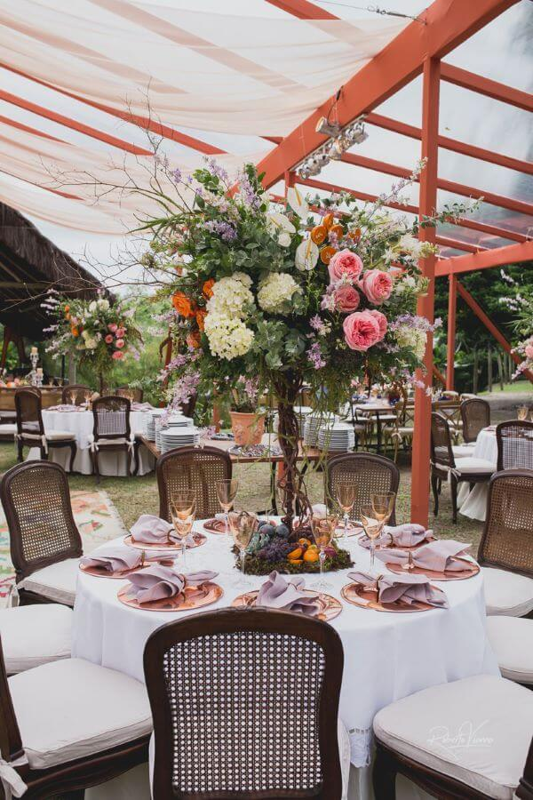 Flores para casamento rústico em tons de rosa e bege