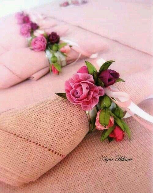 Porta guardanapo de tecido com flores
