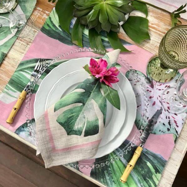 Guardanapo de tecido para festa tropical