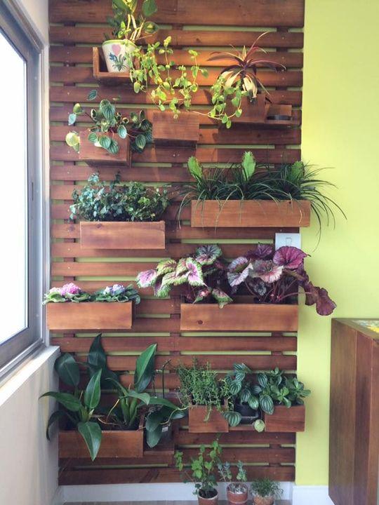 jardim residencial - jardim vertical em madeira