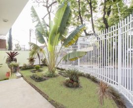 jardim residencial - portão metálico branco e canteiro natural florido - TT Interiores