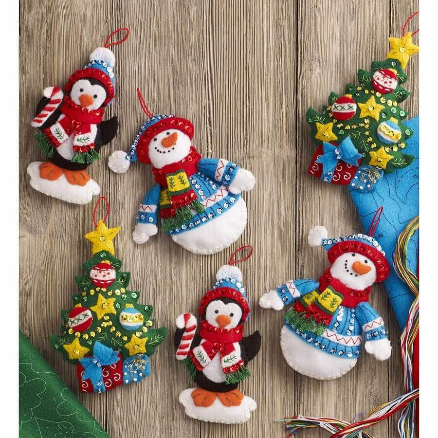 kit enfeites para árvore de natal artesanal Foto Pinterest