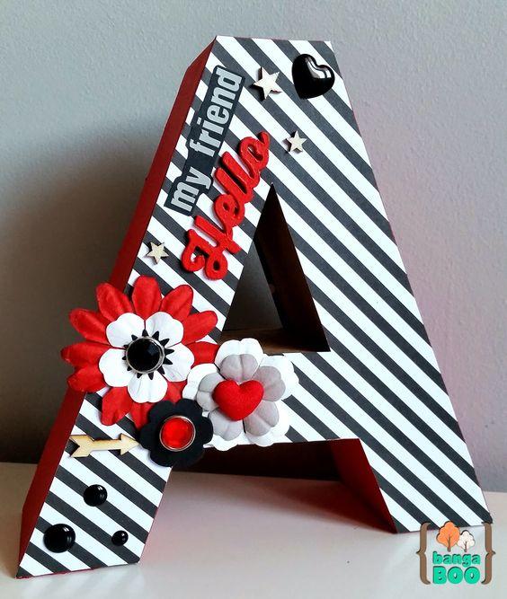 letras decorativas - letra a com listras