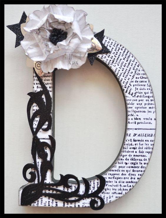 letras decorativas - letra d com página de jornal