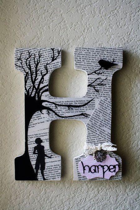 letras decorativas - letra h com páginas de livro