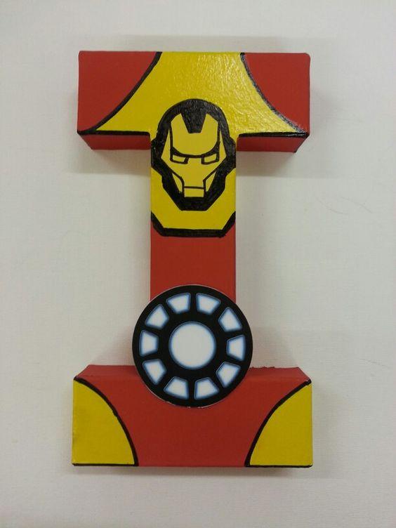 letras decorativas - letra i com tema do homem de ferro
