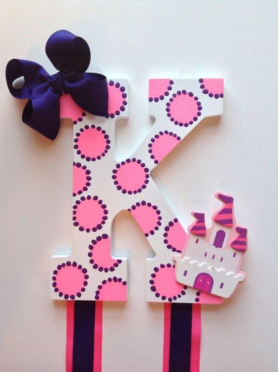 letras decorativas - letra k com bolinhas e fitas