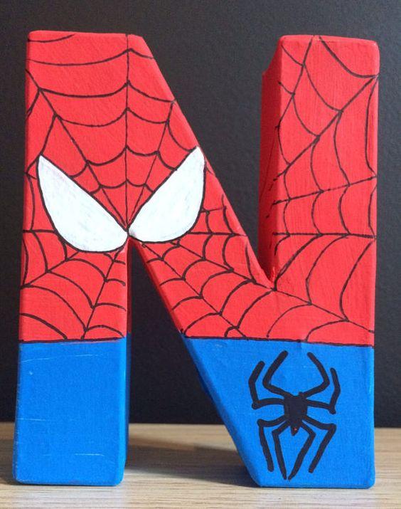 letras decorativas - letra n com tema do homem aranha